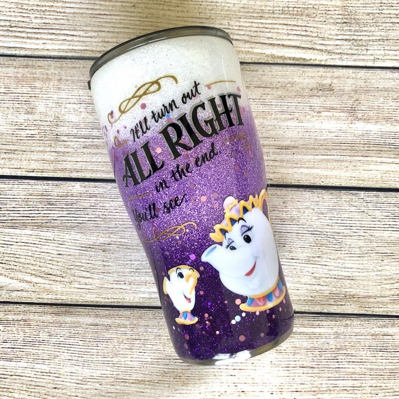 Mrs.Potts and Chip Vinyl Tumbler Cup with Straw