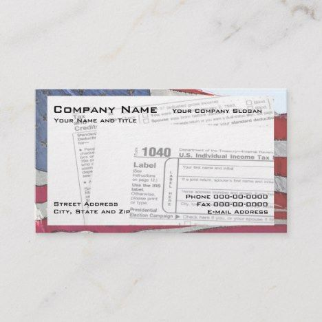 Tax Preparer Federal Form Business Card Zazzle In