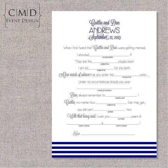 Wedding Vow Mad Libs Printable: Nautical Wedding Mad Lib PRINTABLE DIGITAL FILE By