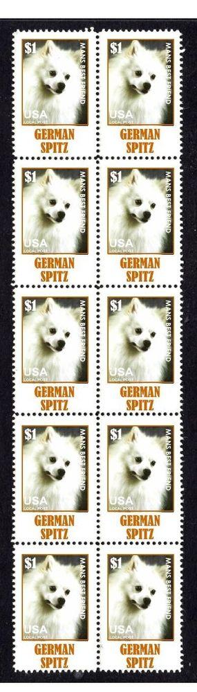 GERMAN SPITZ DOG MANS FRIEND STRIP OF 10 MINT STAMPS1