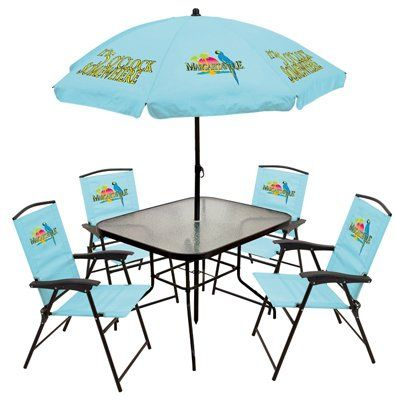 Margaritaville Patio Set Blue Folding Sling Chairs 5