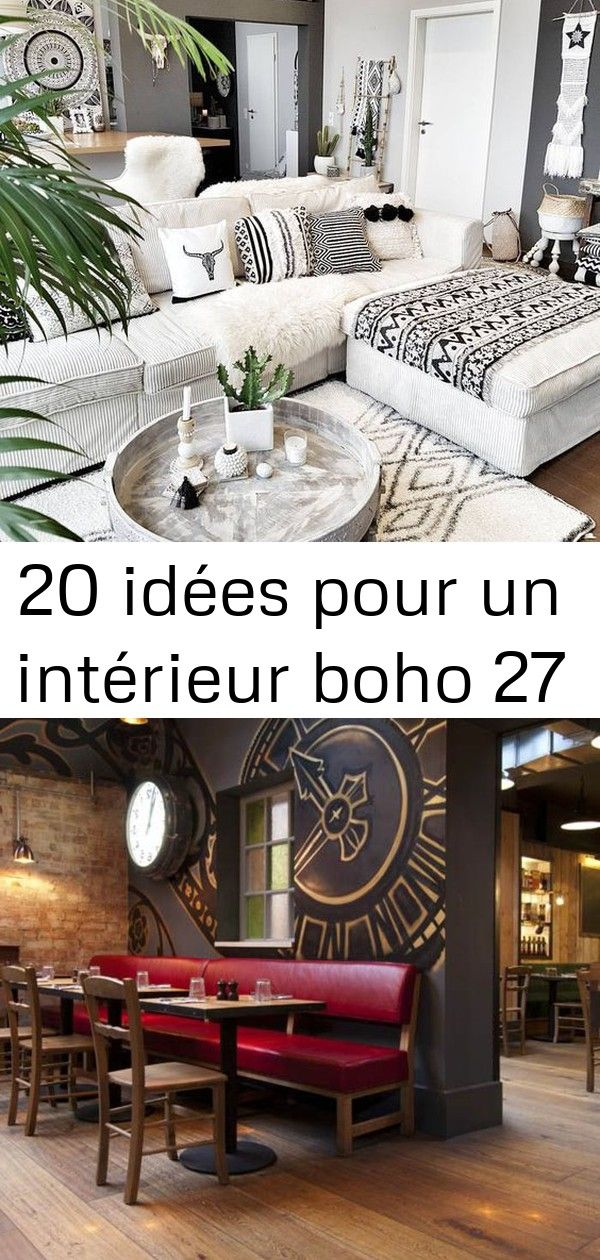 20 idées pour un intérieur boho 27 20 idées pour un intérieur boho canapé carmin décoration murale horloge murale salon moderne...
