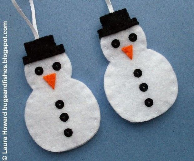 Felt Snowman Ornaments - Free Tutorial