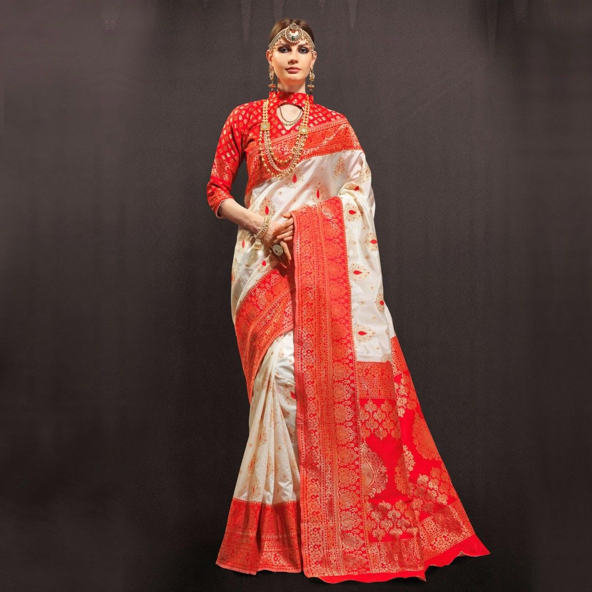 c7ebf0fa1b0d7 Buy Red - White Weaving Work Silk Saree online India