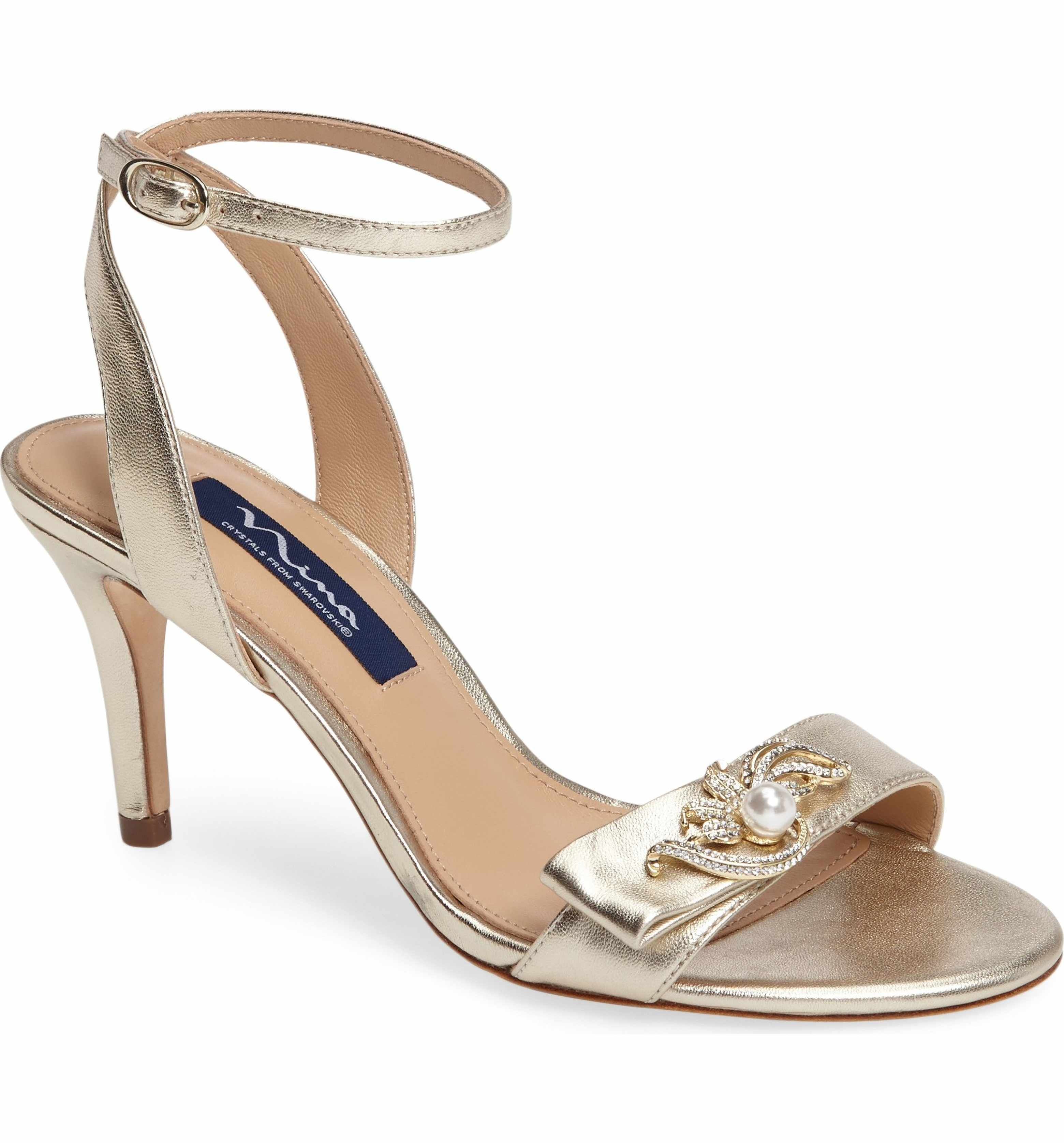 Monroe - Black embellished (crystal & pearls) heeled sandal
