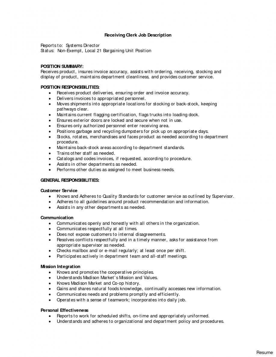 Shipping And Receiving Clerk Resume Best Of 84 Sample Resume For Shipping And Receiving Clerk
