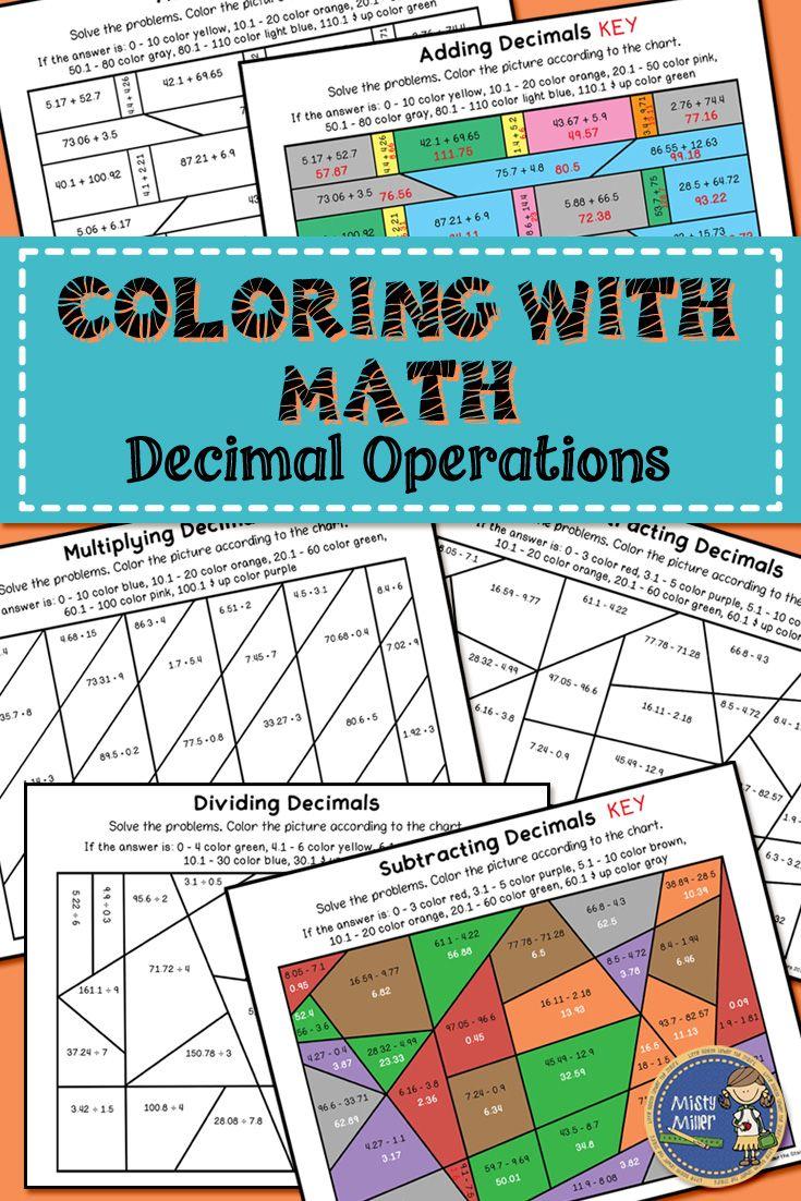Decimal Operations Color with Math | Dividing decimals, Math and ...