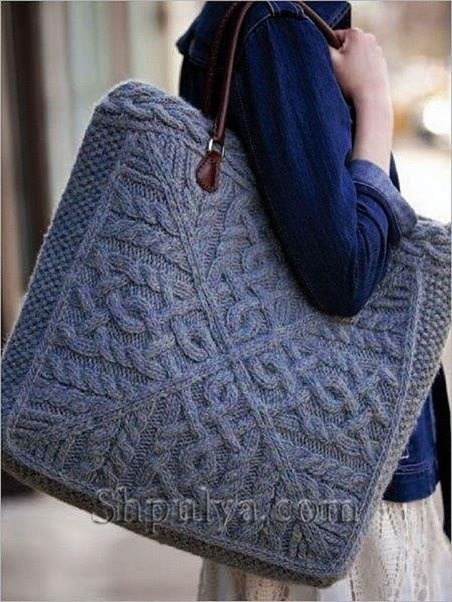 81c145e8fe9e Вязаная сумка для прогулок, вязаная спицами   Knitted bags   Knitted ...