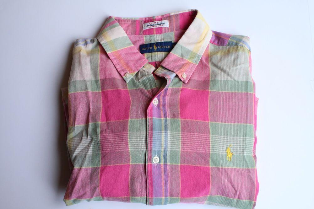 48764e7e Polo Ralph Lauren Madras Woven Pink Button Down Long Sleeve Men's Shirt (L)  (XL) #PoloRalphLauren #ButtonFront