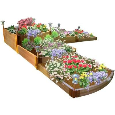 Frame It All 1 In Profile Tool Free Classic Sienna 12 Ft X 12 Ft X 22 In Raised Garden Bed Split Waterfall Tri Level 300001178 Raised Garden Beds Raised Garden Bed Kits Garden Beds