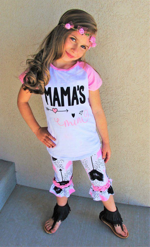 Quot Mamas Mini Quot Pink Feather Capri Set Boutique Outfits