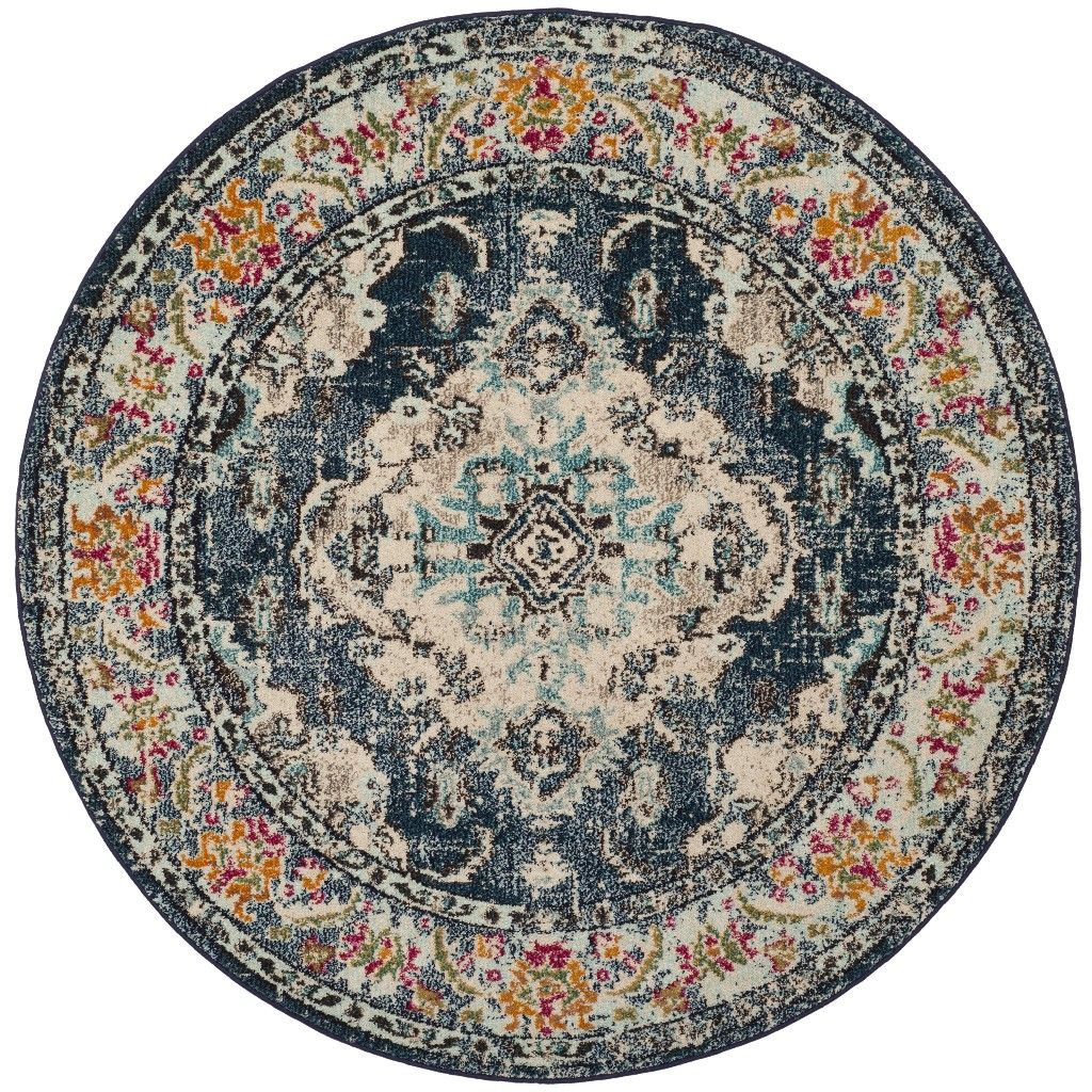 Monaco Collection 9 X 9 Round Rug In Navy And Light Blue