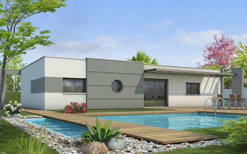 Maison toit plat Azur - plan maison contemporaine Plans de maisons - plan maison terrain pente