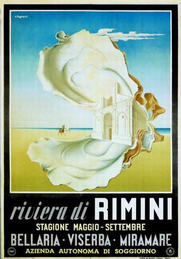 1950 Rimini Riviera Italian vintage poster / oyster | Travel Posters ...