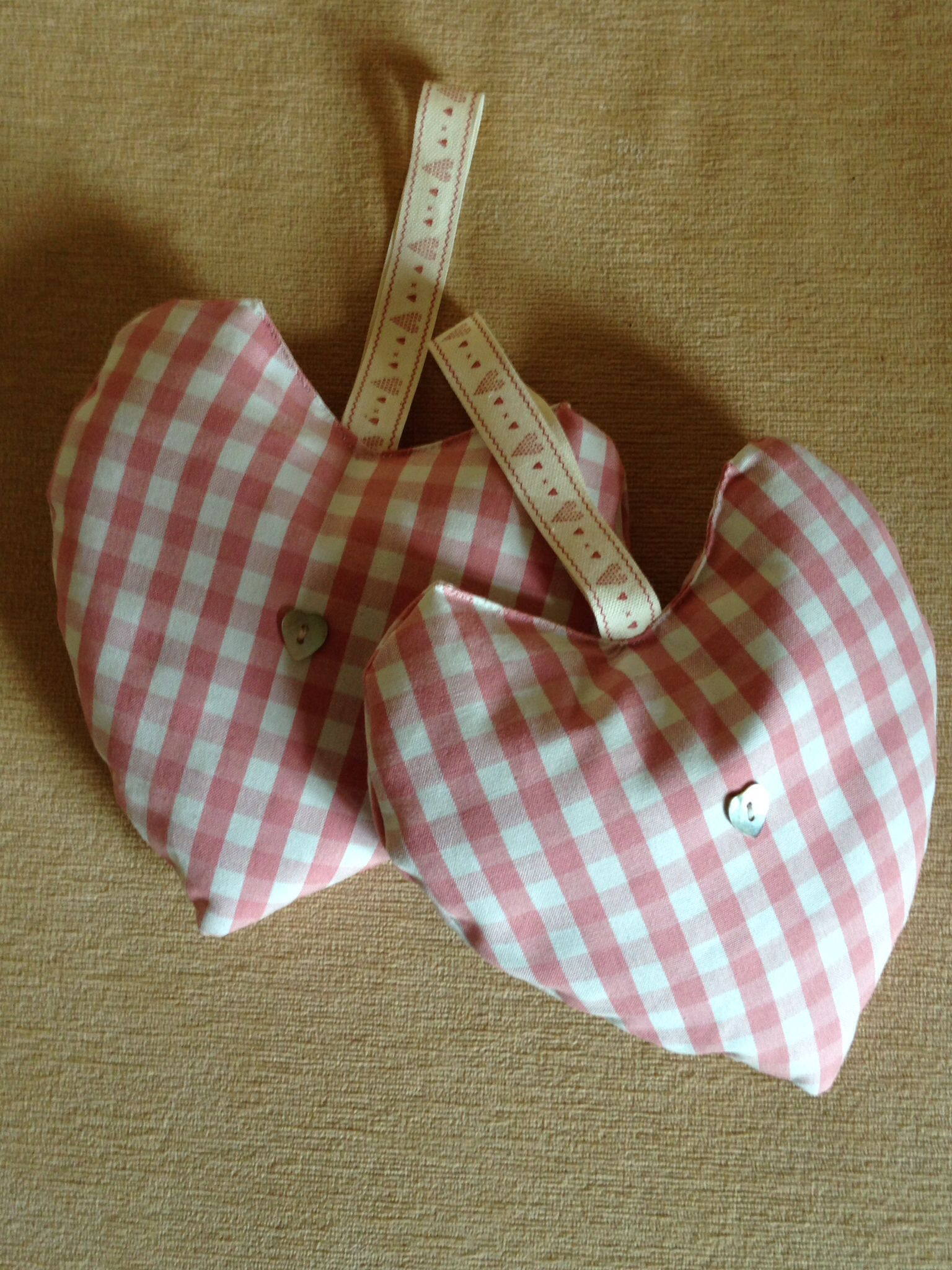 Beautiful pink gingham organic lavender hearts with mother