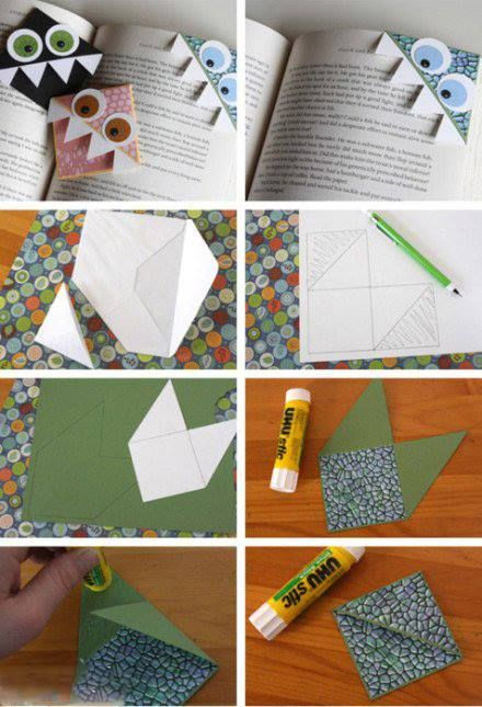 How to fold monster bookmark step by step DIY tutorial instructions ♥ How to, how to make, step by step, picture tutorials, diy instructions, craft, do it yourself ❤