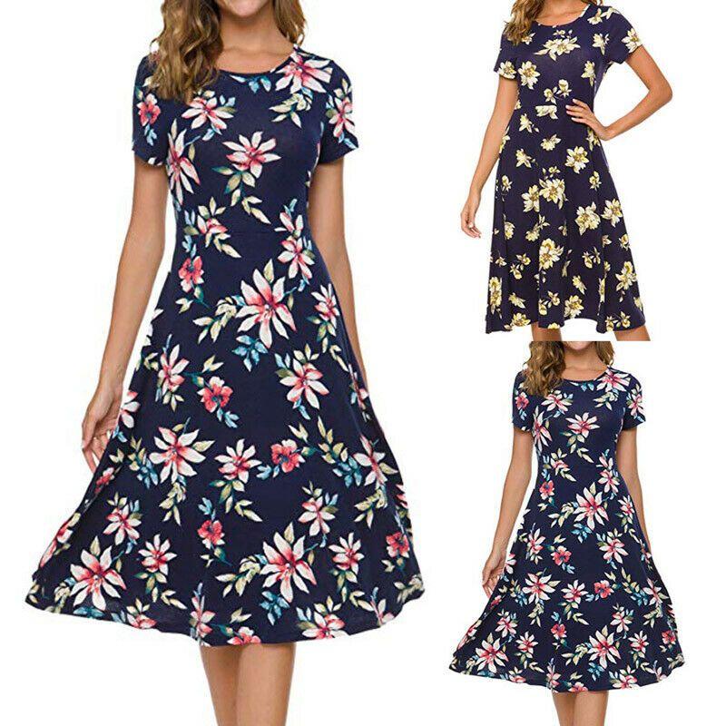 Details Zu Kleider Damen Freizeit Sommerkleid Loose Fit A Linie Knielang Cocktail Dresses Fashion Short Sleeve Dresses