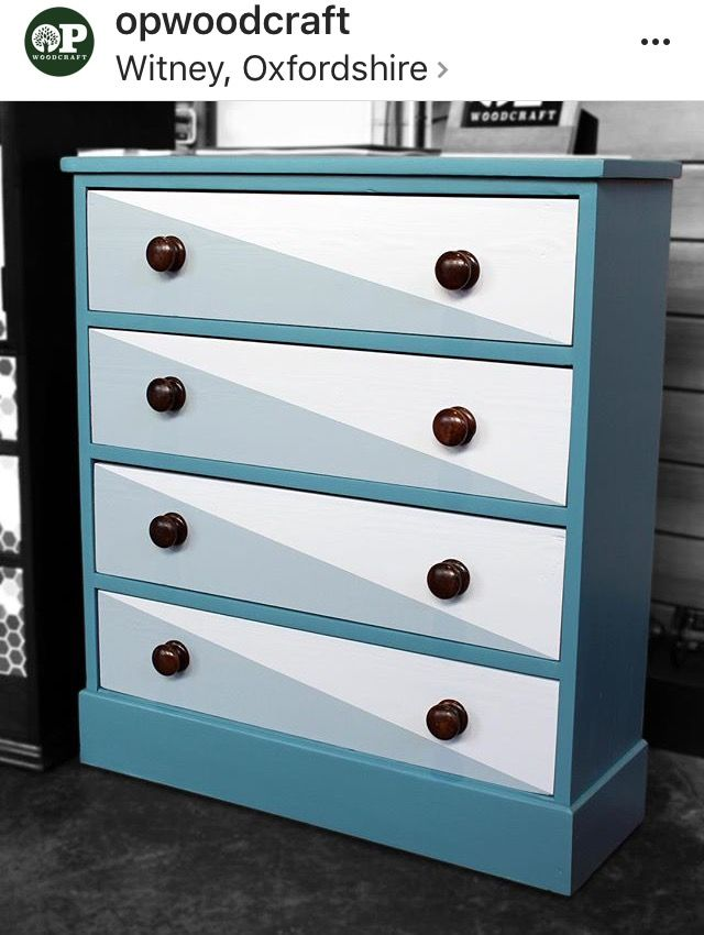 Painted Chest Of Drawers Upcycled Geometric