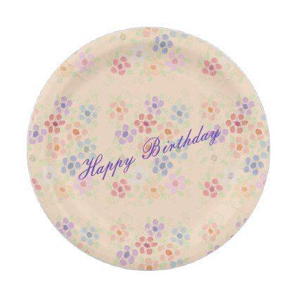 Pretty flowered happy birthday paper plates birthday gifts party pretty flowered happy birthday paper plates birthday gifts party celebration custom gift ideas diy mightylinksfo