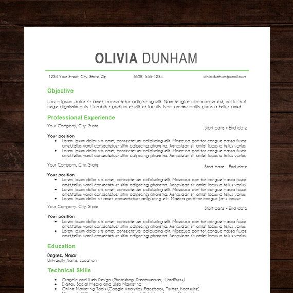 Resume \ Cover letter CV Template The Olivia Resume Design - word doc resume templates