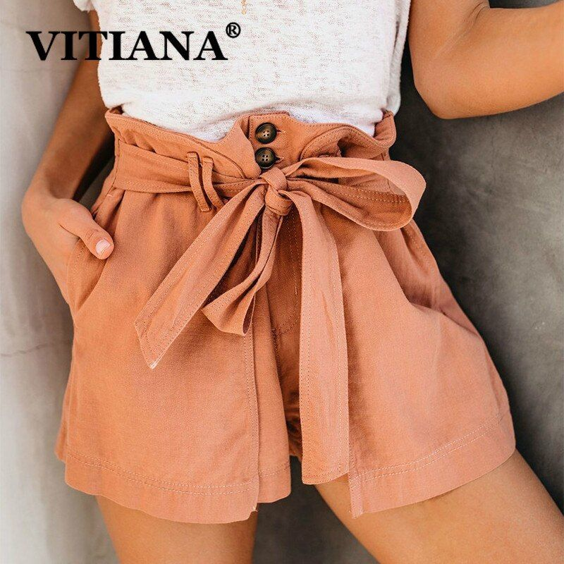58aa1e7d0 VITIANA Women Casual Shorts Summer 2019 Solid Coffee Orange Pockets  Streetwear Sexy Shorts Ladies Beach.