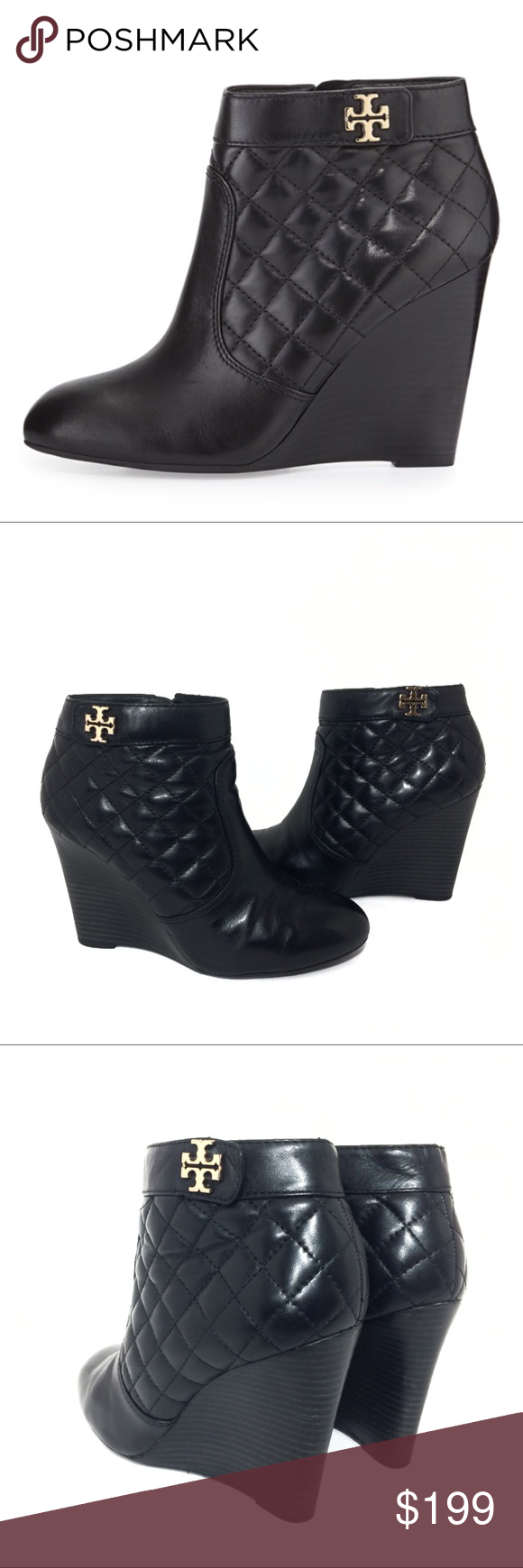10057d4d8 Tory Burch Leila Quilted Leather Wedge Booties Gorgeous