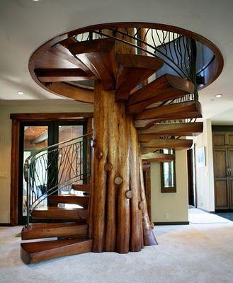 ESTILO RUSTICO Escaleras rusticas #casasrusticasdemadera MADERA - escaleras de madera rusticas