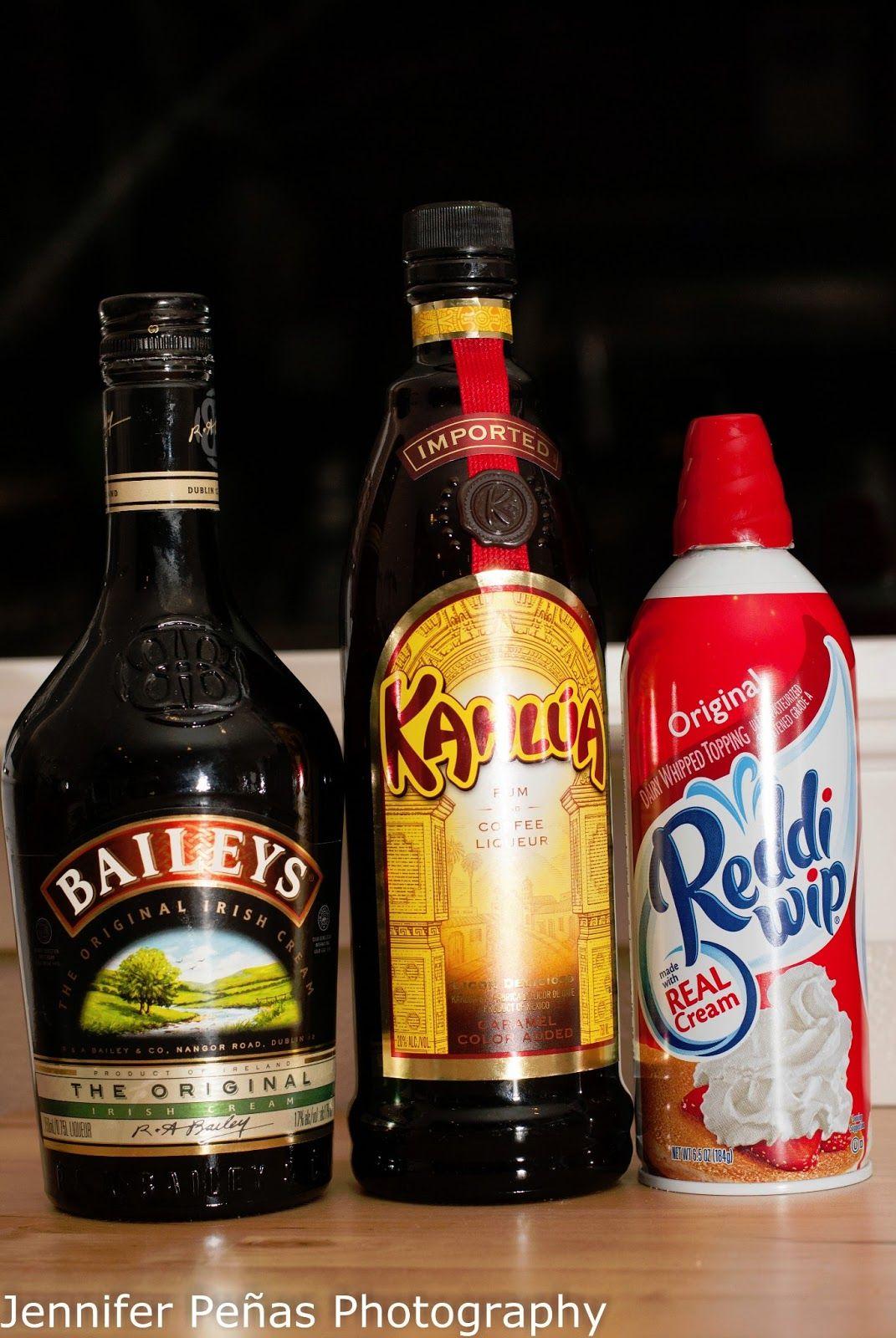 3/4 oz Kahlua first then 3/4 oz Baileys Irish Cream top with whip ...