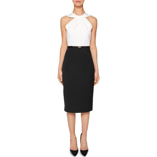 ef760542894034 Ted Baker Rayald Twist-Neck Belted Pencil Dress ($295) ❤ liked on Polyvore  featuring dresses, black, cinched waist dress, cinch dress, shining dress,  ted ...