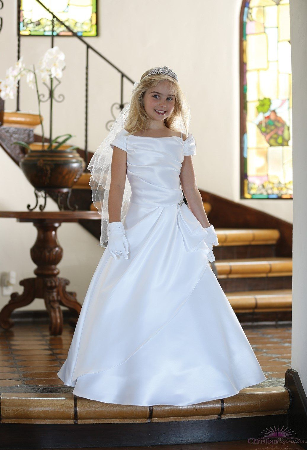 A Line Satin First Communion Dress (With images) First