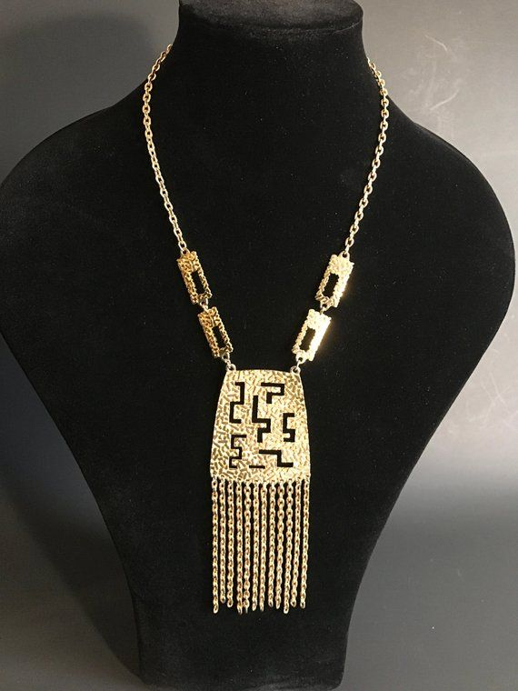 Best Vintage 70'S Bright Goldtone Necklace Wtassle Cosplay 640 x 480
