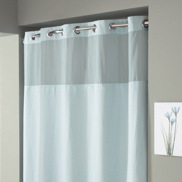 HooklessR Waffle Spa Blue Fabric Shower Curtain And Liner Set
