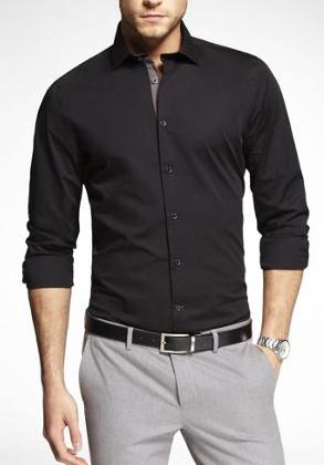 Pantalón Gris Camisa Negra Camisa Negra Hombre Moda