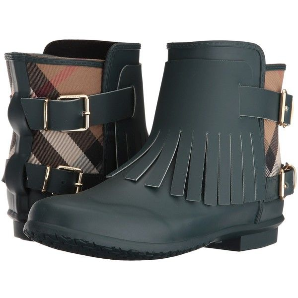 Burberry Fritton (Dark Racing Green) Women's Boots ($295) ❤ liked on  Polyvore