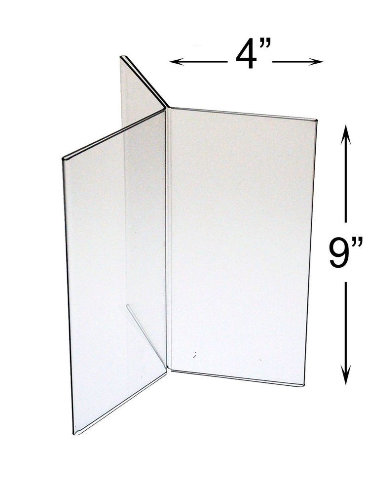 6 Sided Clear Frame Display Stand 4 X 9 Three Panel Table Tent