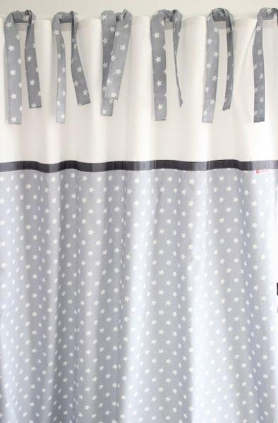 Vorhang, Sterne grau/weiß 135 x 250 cm von maru*maru - Kinder(t ...