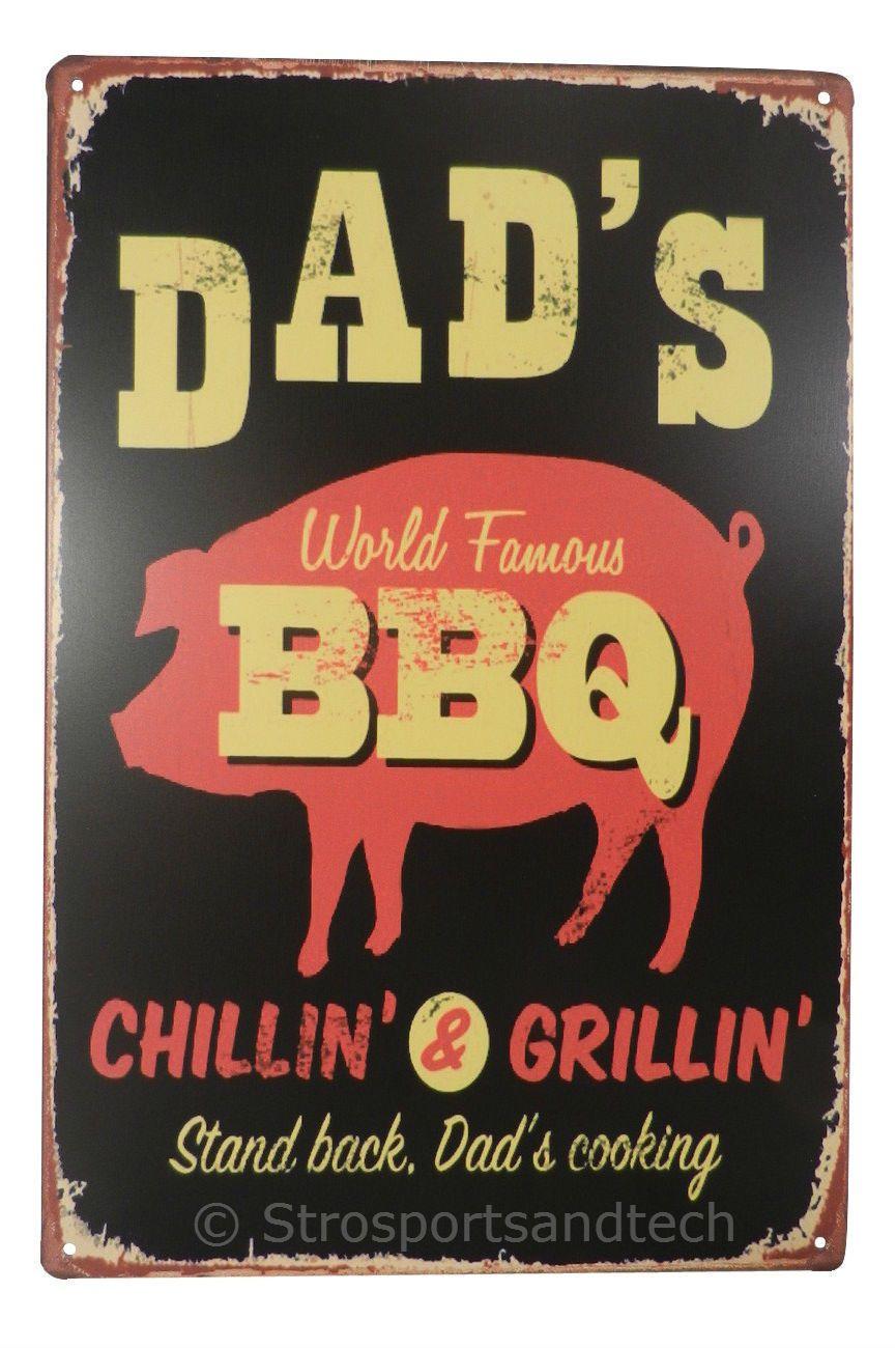 Dads world famous bbq tin sign bar diner cafe garage wall decor