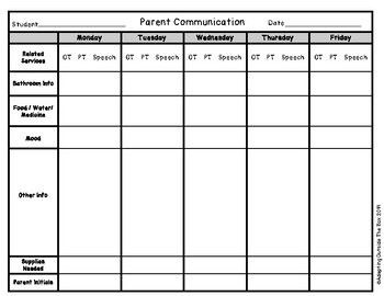 Photo of Weekly Parent Communication Log