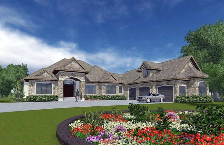 House plan 81162 bungalow plan with 3162 sq ft 4 - 4 bedroom 3 car garage house plans ...