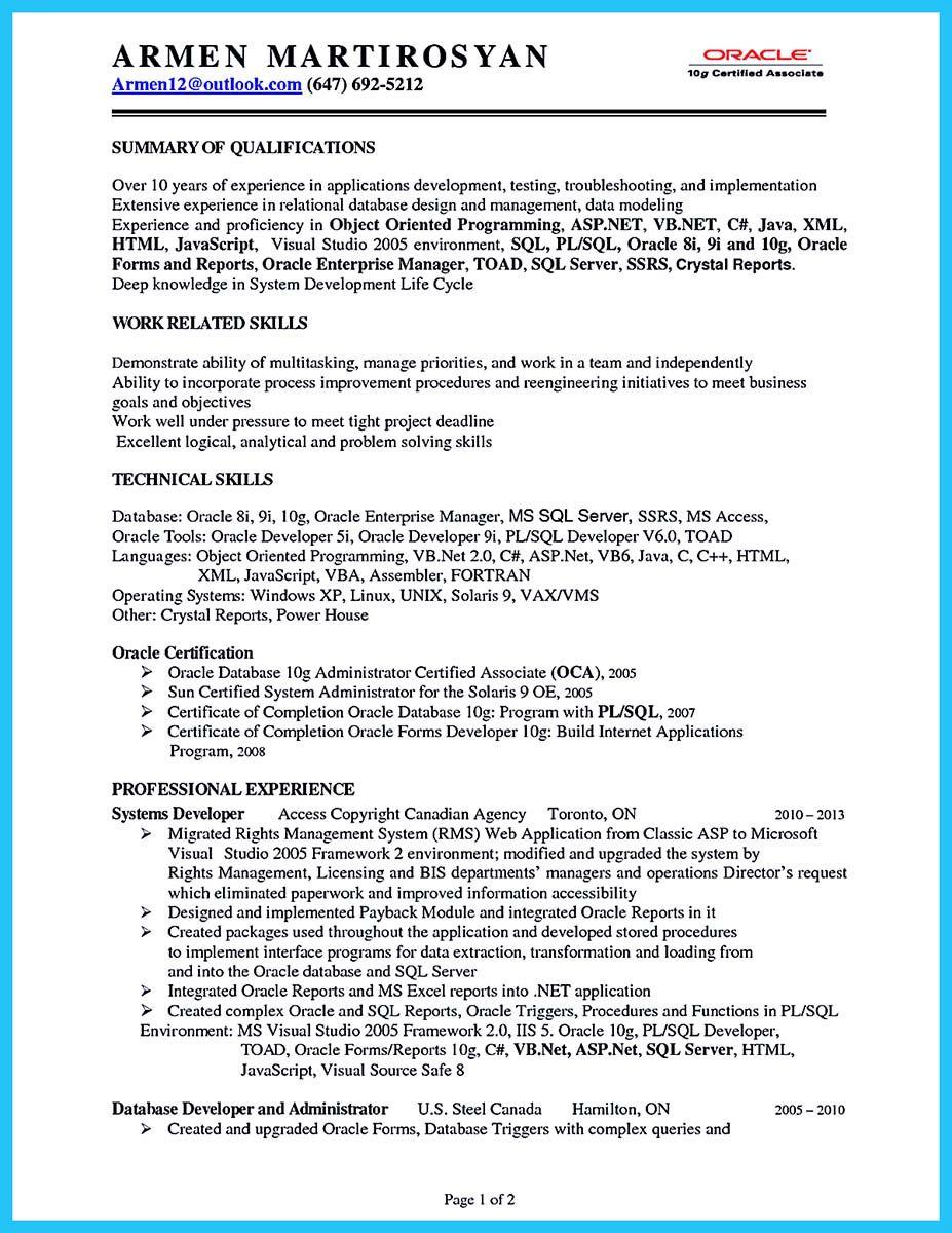 Oracle Database Developer Resume - Resume Sample
