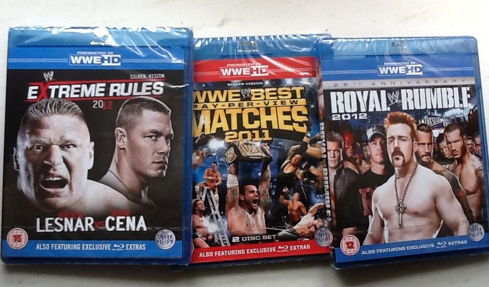 Another order i received in 2012  - Extreme Rules 2012 - Best Pay-Per-View Matches 2011 - Royal Rumble 2011