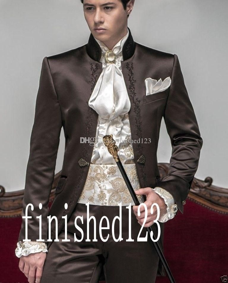 High Quality Brown Embroidery Groom Tuxedos Stand Collar Groomsmen ...