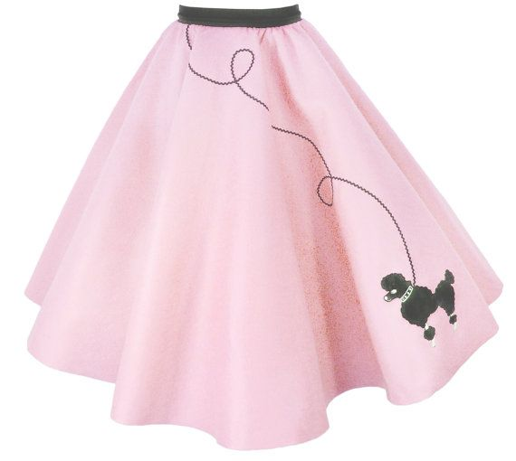Ladies 50s Poodle Skirt LIGHT PINK With Black By Hiphop50sshop