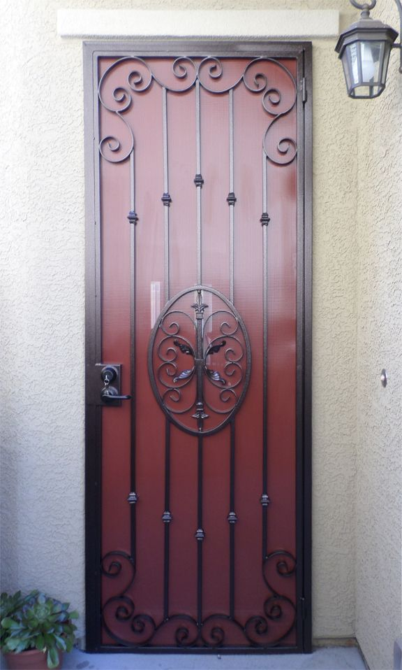 Abbey Modern Classic Wrought Iron Security Screen Door