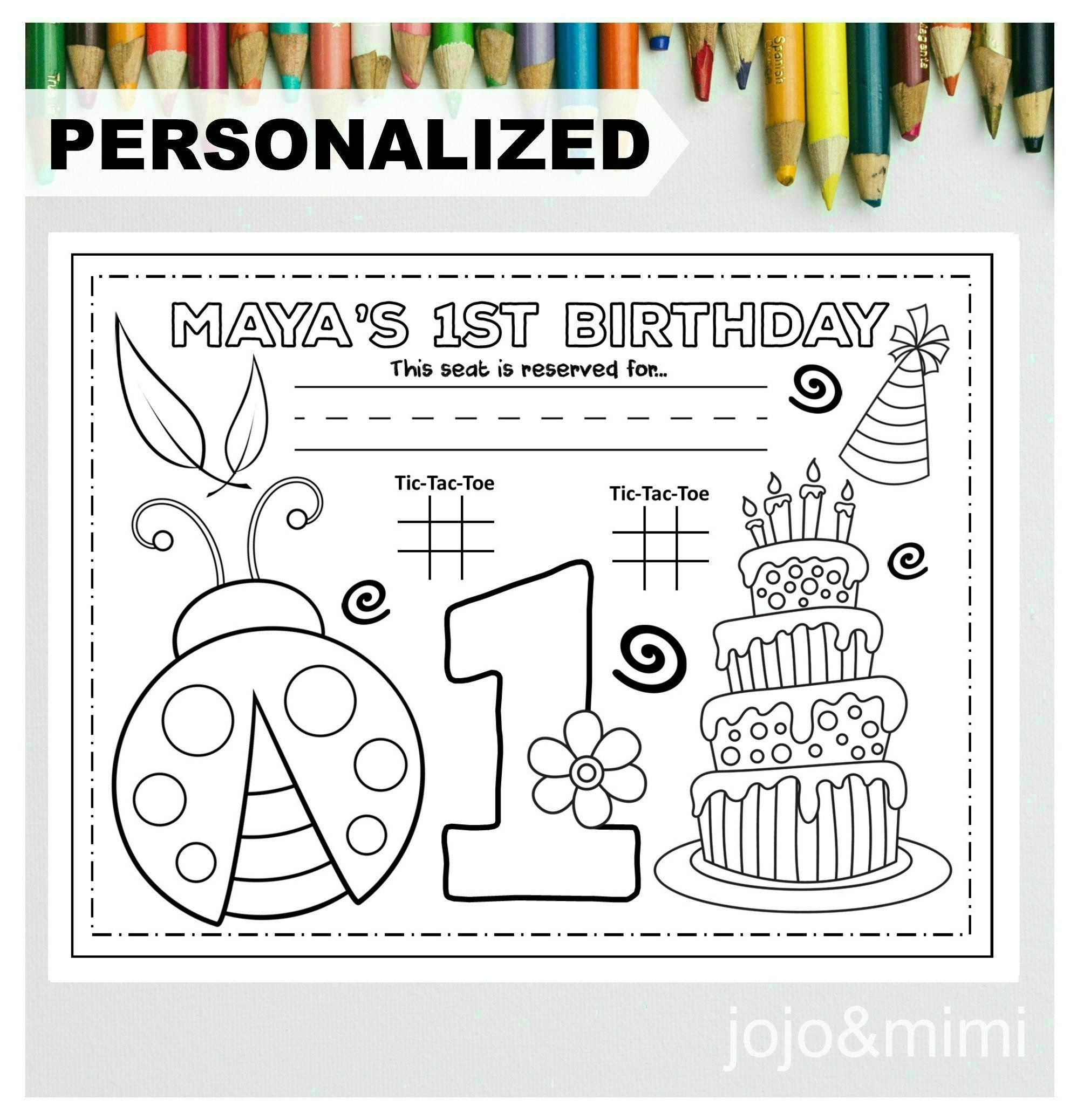 Personalized Ladybug Happy Birthday Printable Placemat Etsy Happy Birthday Coloring Pages Birthday Coloring Pages Happy Birthday Printable