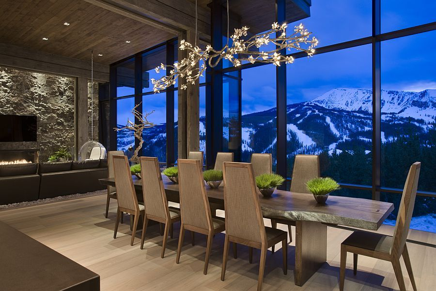 Dining Table Private Luxury Ski Resort, Mountain Lodge Dining Room Furniture