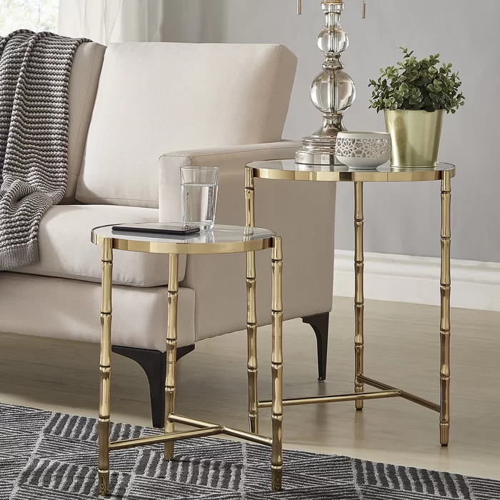 Conlon Bamboo Look Stainless Steel 2 Piece Nesting Tables Nesting Tables Gold Living Room Furniture Gold Living Room #nesting #table #living #room