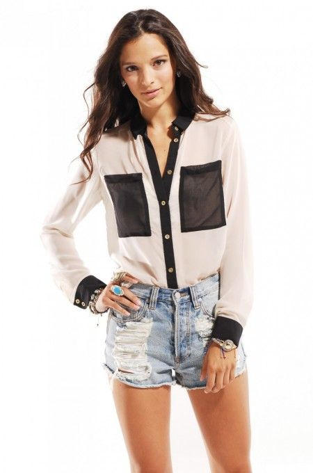 Chiffon Colorblocked Button Down Blouse in Taupe # fashion blouse | shopakira.com