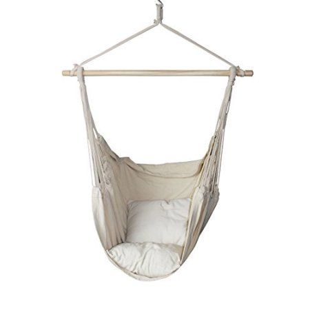 Hanging Rope Hammock Chair Swing Seat for Any Indoor or Outdoor Spaces w//Pillows