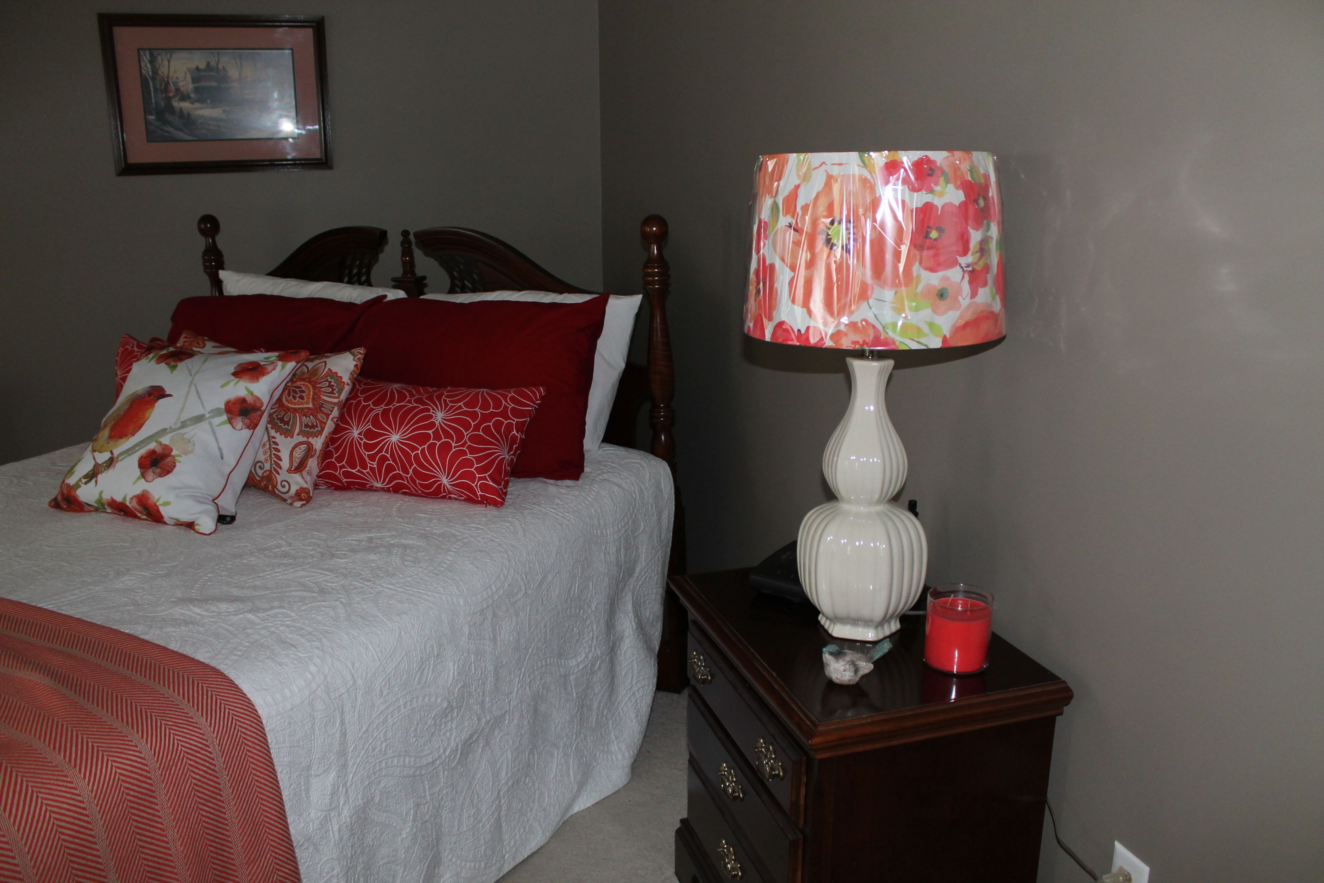 Floral, Coral Lamp Shade From Target And Lamp Base From Home Goods ~